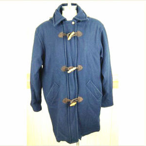 Wool Blend Navy Blue Hooded Long Coat Oval Buttons
